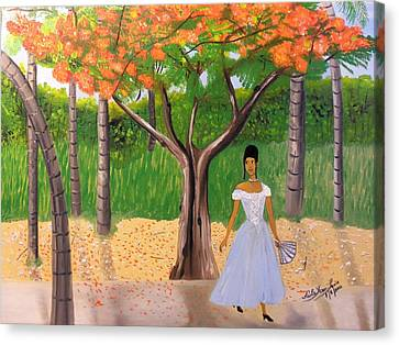 Royal Poinciana Canvas Print - A Une Dame Creole by Nicole Jean-Louis