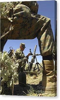 A U.s. Marine Mortarman Trains On An Canvas Print by Stocktrek Images