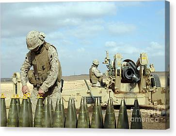 Baghdad Canvas Print - A U.s. Marine Prepares Howitzer Rounds by Stocktrek Images