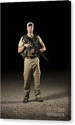 Police Officer Canvas Print - A U.s. Police Officer Contractor by Terry Moore