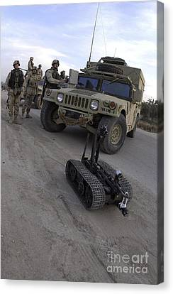 A U.s. Soldier Deploys A Remotely Canvas Print by Stocktrek Images