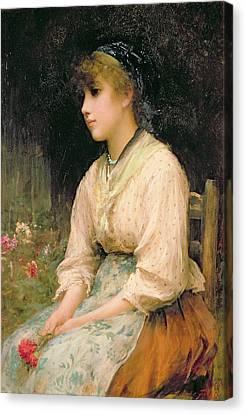 A Venetian Flower Girl Canvas Print by Sir Samuel Luke Fildes