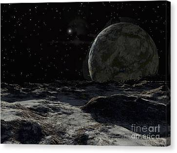 Cosmic Space Canvas Print - A View From The Surface Of A Large by Ron Miller