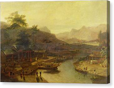 A View In China - Cultivating The Tea Plant Canvas Print by William Daniell