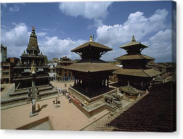 A View Of Durbar Square Showing Canvas Print by James P. Blair