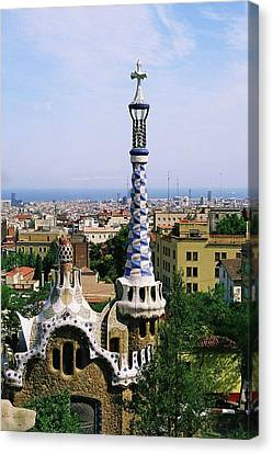 A View Over Barcelona From Parc Guell. Canvas Print by Tracy Packer Photography