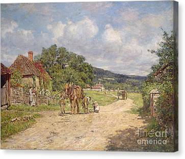 A Village Scene Canvas Print by James Charles