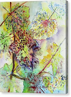 Canvas Print featuring the painting A Vineyard Morning by Karen Fleschler