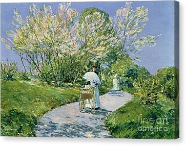 A Walk In The Park Canvas Print by Childe Hassam