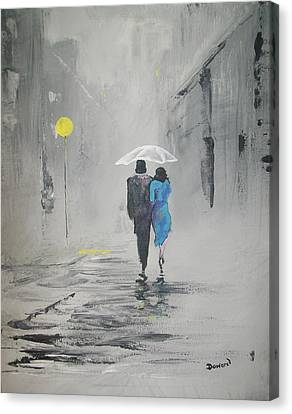 A Walk In The Rain Canvas Print by Raymond Doward
