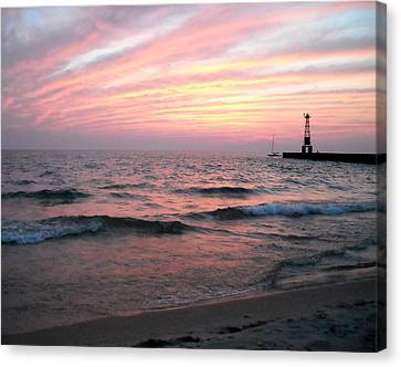 Canvas Print featuring the photograph A Walk On Pentwater Beach by Penny Hunt