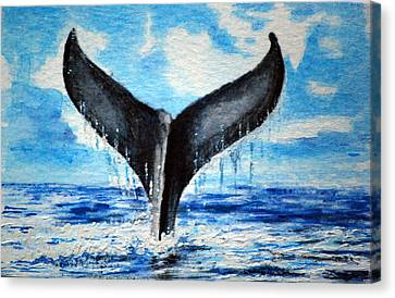 Canvas Print featuring the painting A Whales Tail by Lynn Hughes