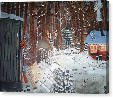 A Whitetail Buck In Back Of Cabin In The Snow Canvas Print