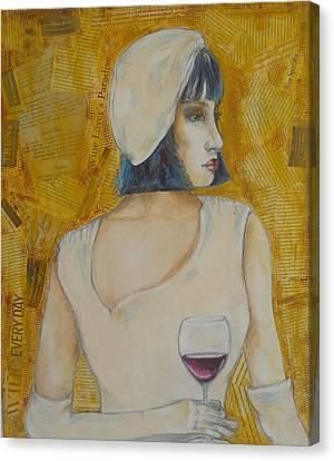 A Wine Tasting Evening Canvas Print by MaryAnn Ceballos