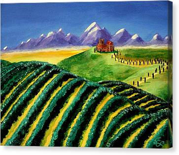 A Winery In Tuscany Canvas Print by Spencer Hudon II