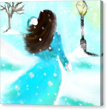 Canvas Print featuring the painting A Winter Day by Lori  Lovetere
