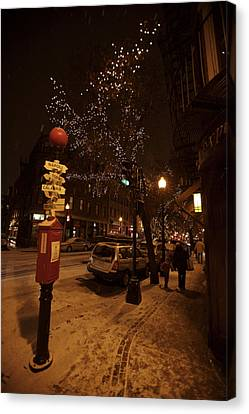 A Winter Evening In Bostons North End Canvas Print by Tim Laman