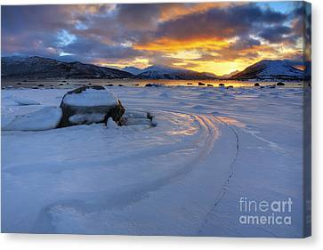 A Winter Sunset Over Tjeldsundet Canvas Print by Arild Heitmann