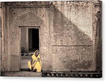 A Woman In Yellow Dress Canvas Print by Mostafa Moftah