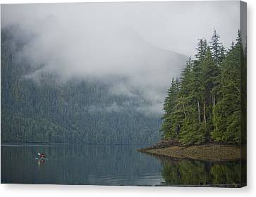 A Woman Kayaks Along A Quiet Inlet Canvas Print by Taylor S. Kennedy