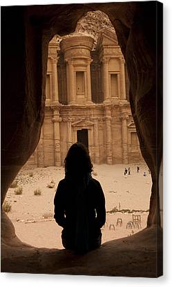 A Woman Looks Out At The Monastary Canvas Print by Taylor S. Kennedy