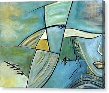 Beautiful Woman Contemporary Abstract Art Portrait Prints For Modern Living Rooms Canvas Print by Marie Christine Belkadi