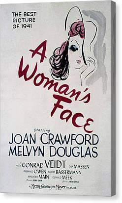 A Womans Face, Joan Crawford, 1941 Canvas Print by Everett