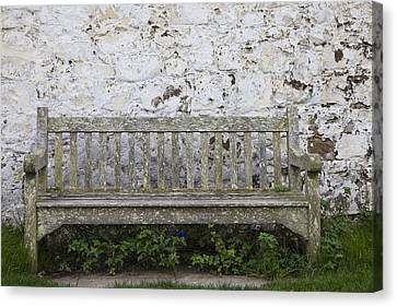 A Wooden Bench With Peeling Paint Canvas Print by John Short