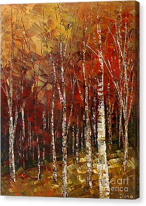 Canvas Print featuring the painting A Woodpath by Tatiana Iliina