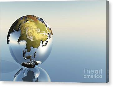 A World Globe Showing The Continents Canvas Print by Corey Ford