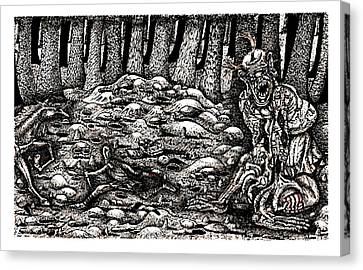 Aaron Battles The Ogre Canvas Print by Al Goldfarb