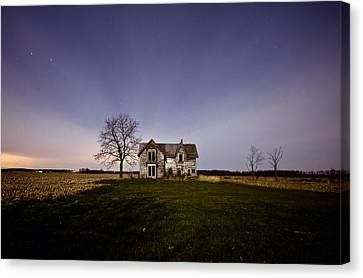 Abandoned House Canvas Print - Abandoned Farmhouse At Night by Cale Best