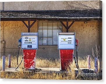 Not In Use Canvas Print - Abandoned Gas Pumps And Station by Dave & Les Jacobs