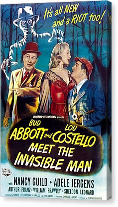 Horror Fantasy Movies Canvas Print - Abbott And Costello Meet The Invisible by Everett