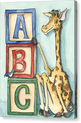 Abc Blocks - Giraffe Canvas Print by Annie Laurie