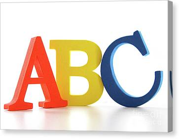 Abc Letters On White  Canvas Print by Sandra Cunningham