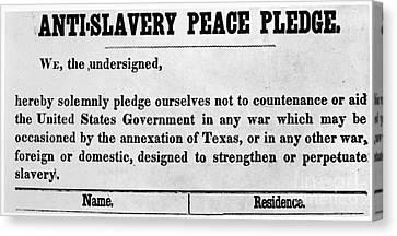 Abolitionist Peace Pledge Canvas Print by Granger