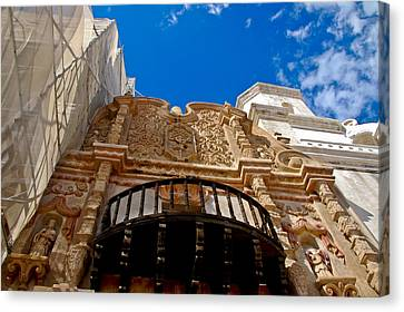 Above The Front Entry San Xavier Mission Canvas Print by Jon Berghoff