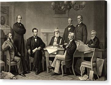Canvas Print featuring the photograph Abraham Lincoln At The First Reading Of The Emancipation Proclamation - July 22 1862 by International  Images