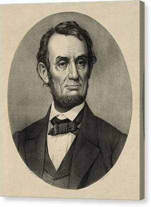 Canvas Print featuring the photograph Abraham Lincoln Portrait by International  Images