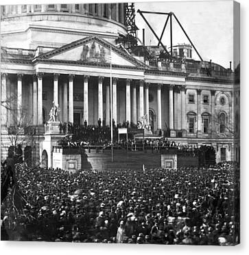 Canvas Print featuring the photograph Abraham Lincolns First Inauguration - March 4 1861 by International  Images