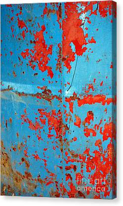 Abstrac Texture Of The Paint Peeling Iron Drum Canvas Print by Antoni Halim