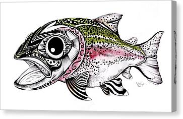 Abstract Alaskan Rainbow Trout Canvas Print by J Vincent Scarpace