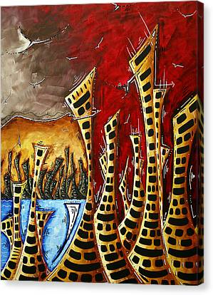 Abstract Art Contemporary Coastal Cityscape 3 Of 3 Capturing The Heart Of The City II By Madart Canvas Print by Megan Duncanson