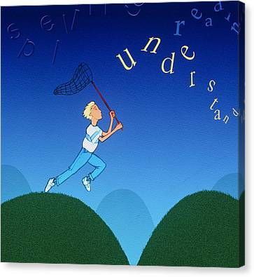Abstract Artwork Of A Dyslexic Boy Chasing Words Canvas Print by David Gifford