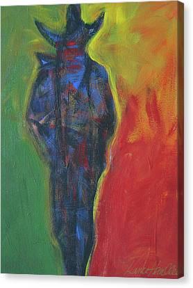 Abstract Cowboy Shadows B Canvas Print by Lance Headlee