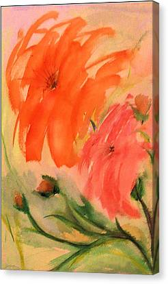 Canvas Print featuring the painting Abstract Dahlia's by Alethea McKee