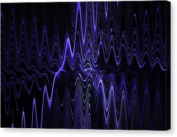 Abstract Digital Blue Waves Fractal Image Black Computer Art Canvas Print by Keith Webber Jr