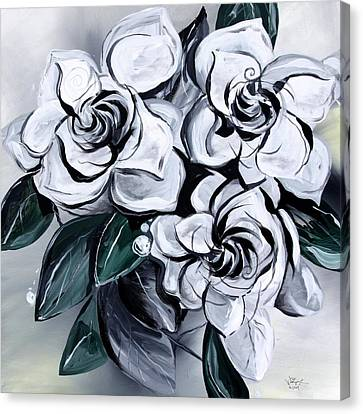 White Gardenia Canvas Print - Abstract Gardenias by J Vincent Scarpace