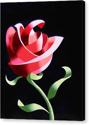 Canvas Print featuring the painting Abstract Geometric Cubist Rose Oil Painting 1 by Mark Webster